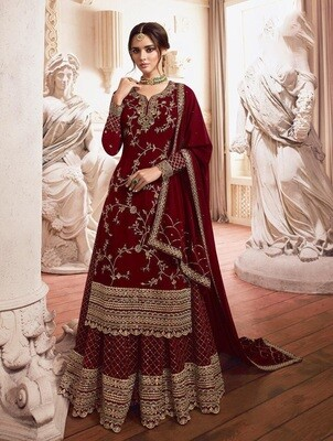 Embroidered Heavy Faux Georgette Sharara Suit In Maroon