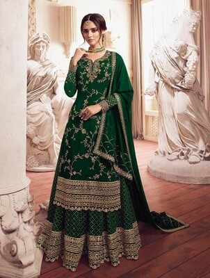 Embroidered Heavy Faux Georgette Sharara Suit In Green
