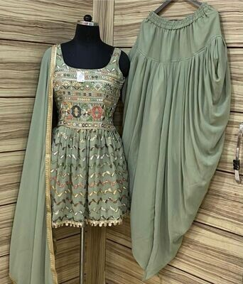 Heavy Georgette Embroidered Dhoti Suit In Green