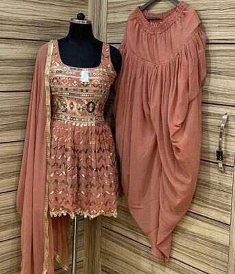 Heavy Georgette Embroidered Dhoti Suit In Peach