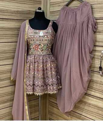 Heavy Georgette Embroidered Dhoti Suit In Lavender