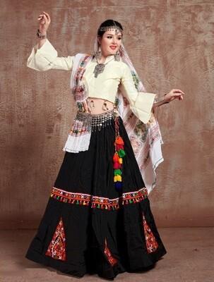 Embroidered Tafetta Silk Navratri Chaniya Choli In Black White