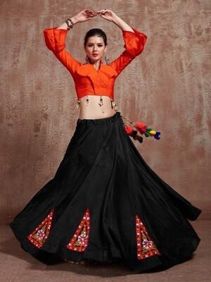 Embroidered Tafetta Silk Navratri Chaniya Choli In Black Orange