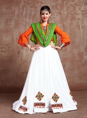 Embroidered Cotton Navratri Chaniya Choli In White Orange Green
