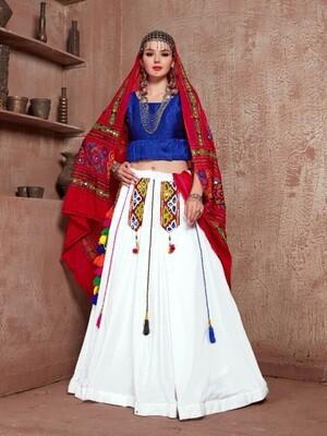 Embroidered Cotton Navratri Chaniya Choli In Red Blue White