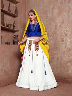 Embroidered Cotton Navratri Chaniya Choli In Yellow Blue White