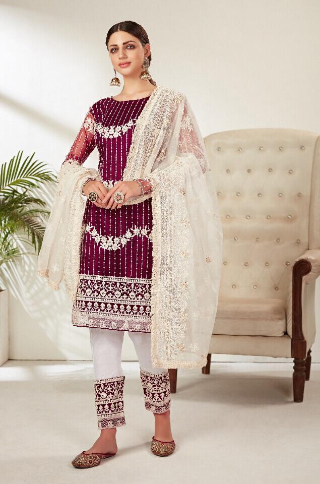 Heavy Embroidered Butterfly Net Pakistani Suit In Purple