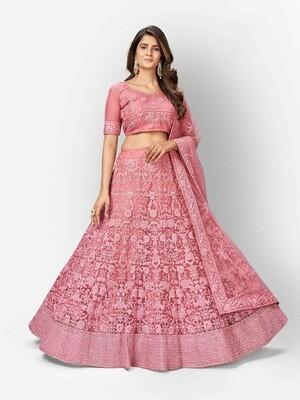 Zarkan Dori Embroidered Lehenga Choli In Pink
