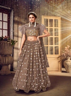 Foil Mirror Embroidered Soft Net Lehenga Choli In Brown