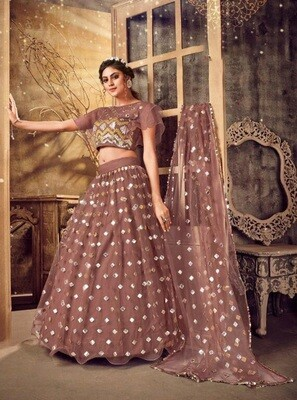 Foil Mirror Embroidered Soft Net Lehenga Choli In Red Wood