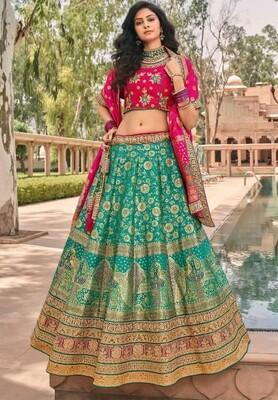 Wedding Wear Stone Embroidered Banarasi Silk Lehenga Choli