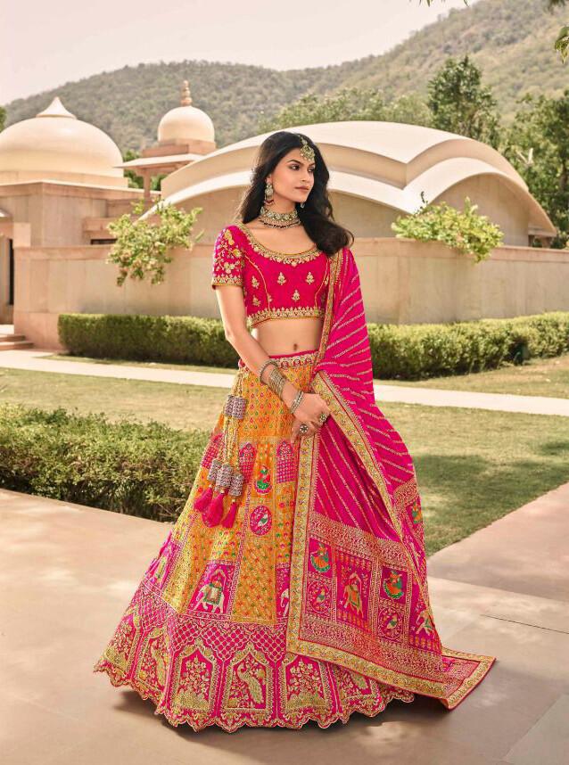 Bridal Wear Stone Embroidered Banarasi Silk Lehenga Choli In Pink