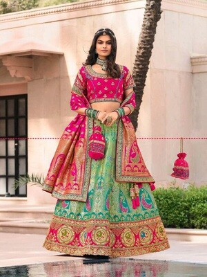 Bridesmaid Wear Stone Embroidered Banarasi Silk Lehenga Choli In Teal Blue