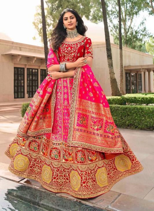 Bridal Wear Stone Embroidered Banarasi Silk Lehenga Choli In Pink Red