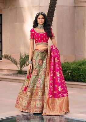 Bridal Wear Stone Embroidered Banarasi Silk Lehenga Choli In Green Rani
