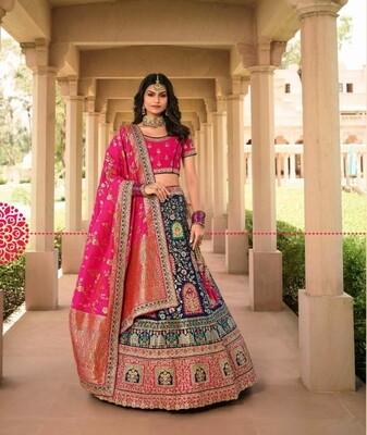 Bridal Wear Stone Embroidered Banarasi Silk Lehenga Choli In Navy Blue Rani
