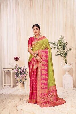 Banarasi Silk Weaving Saree In Parrot Green Red