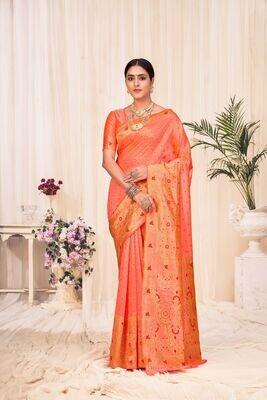 Banarasi Silk Weaving Saree In Orange
