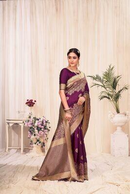 Banarasi Silk Weaving Saree In Purple