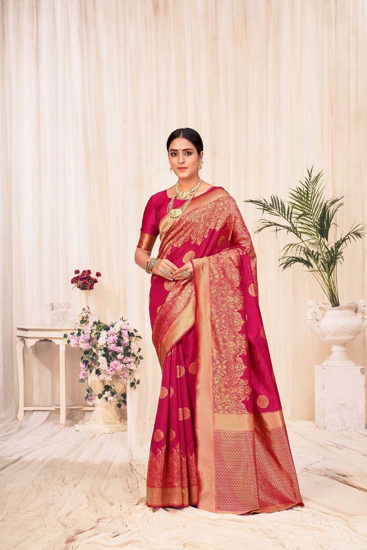 Banarasi Silk Weaving Saree In Wine