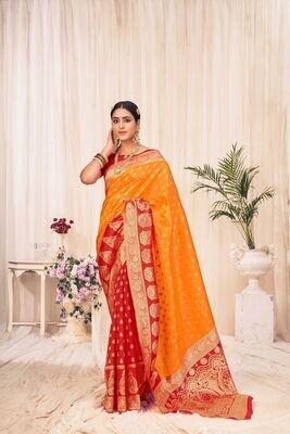 Banarasi Silk Weaving Saree In Yellow Red