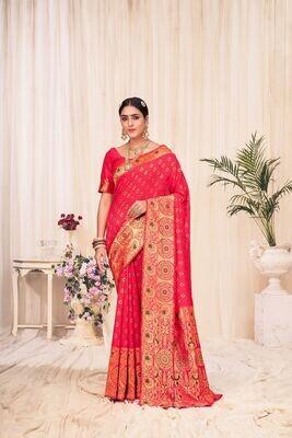 Banarasi Silk Weaving Saree In Pink