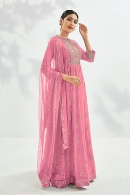 Festive Wear Georgette Gown With Embroidered In Pink