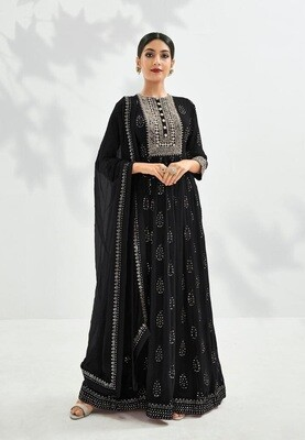 Festive Wear Georgette Gown With Embroidered In Black