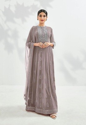 Festive Wear Georgette Gown With Embroidered In Grey