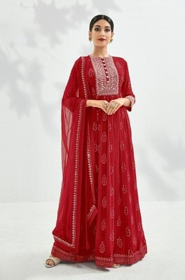 Festive Wear Georgette Gown With Embroidered In Red