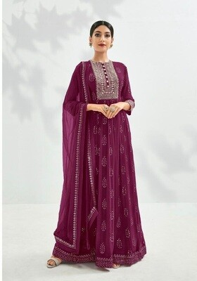 Festive Wear Georgette Gown With Embroidered In Purple