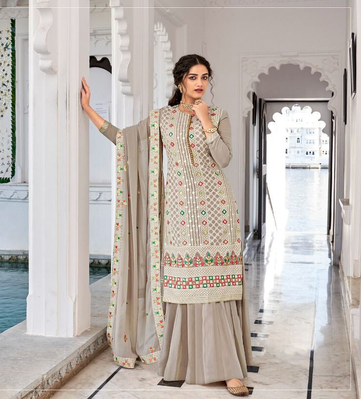 Party Wear Grey Color Plazzo Suit In Georgette With Heavy Embroidery