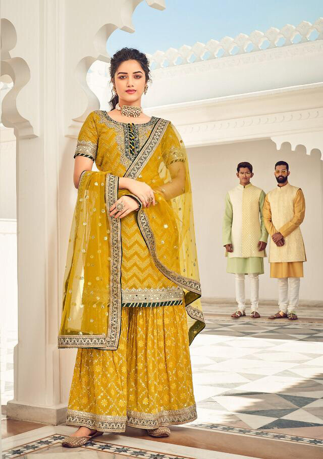 Party Wear Mustard Yellow Plazzo Suit In Faux Georgette With Heavy Embroidery