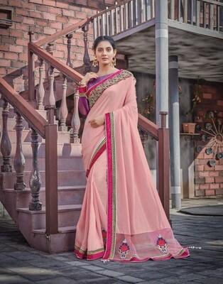 Silk Georgette Embroidered Border Saree In Pink