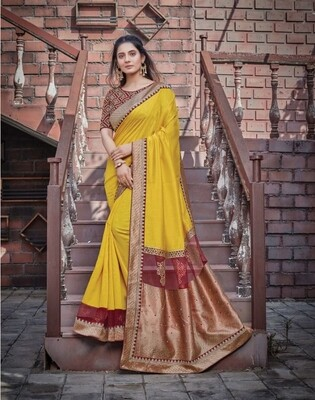 Silk Georgette Weaving Saree In Yellow Red
