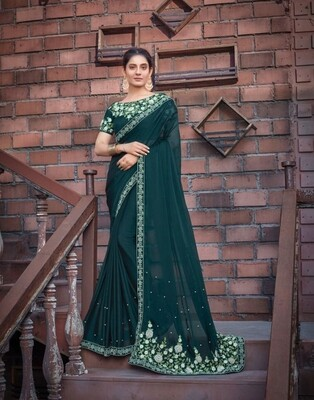 Silk Georgette Embroidered Saree In Green
