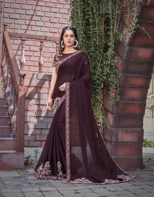 Silk Georgette Embroidered Saree In Brown