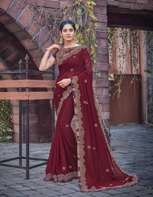 Silk Georgette Embroidered Saree In Maroon