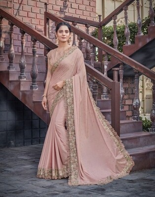 Chiffon Embroidered Saree In Light Pink