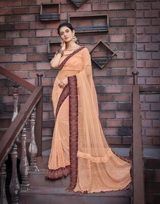Net Embroidered Saree In Orange