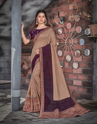 Tussar Silk Embroidered Saree In Light Brown