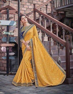 Jacquard Silk Embroidered Saree In Yellow Blue