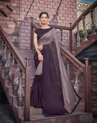 Tussar Silk Embroidered Saree In Dark And Light Purple