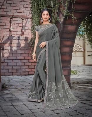 Satin Silk Embroidered Saree In Grey
