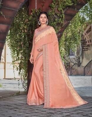 Satin Silk Embroidered Saree In Peach