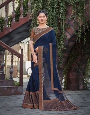 Silk Embroidered Saree In Royal Blue And Brown