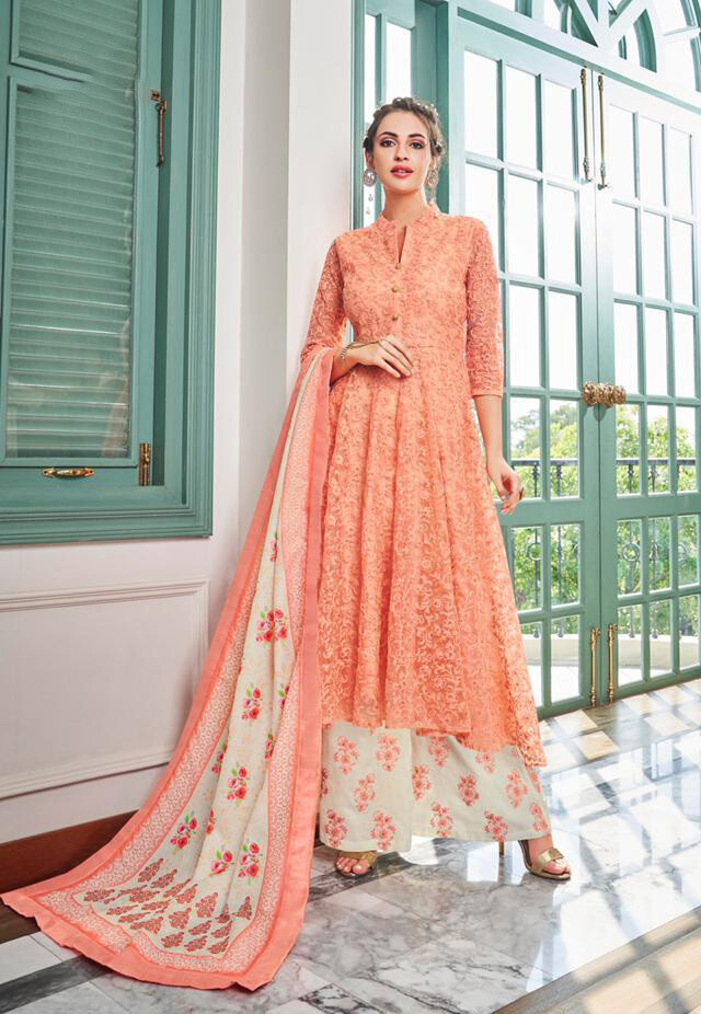 Heavy Embroidered Maslin Plazzo Suit In Peach