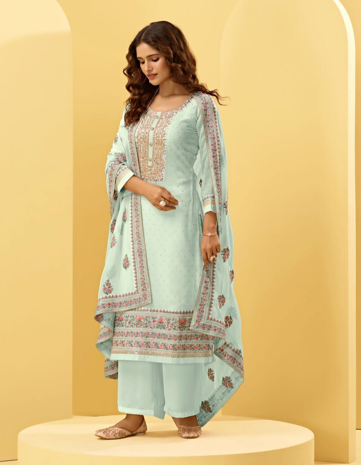 Cording Embroidered Alizeh Georgette Plazzo Suit In Misty Teal