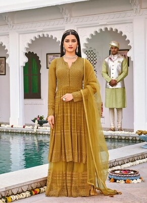 Wedding Wear Sharara Suit With Heavy Embroidered In Mustard Yellow