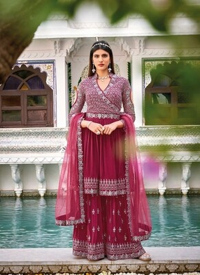 Wedding Wear Sharara Suit With Heavy Embroidered In Mustard Pink